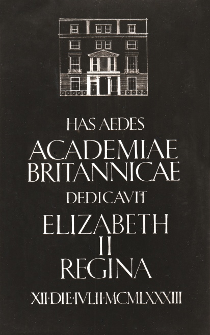 British Academy Glass commemorative plaque